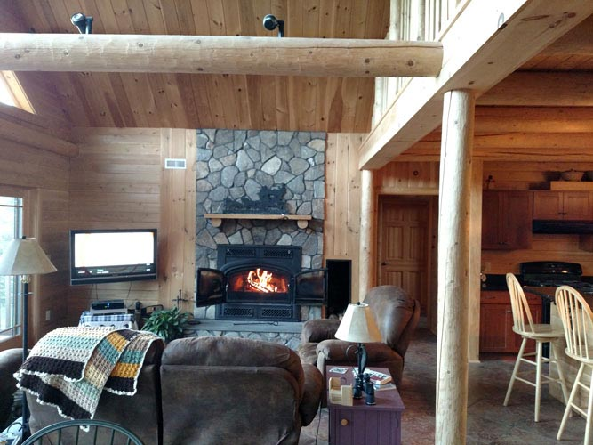 Madison Log Home Great Room with fireplace