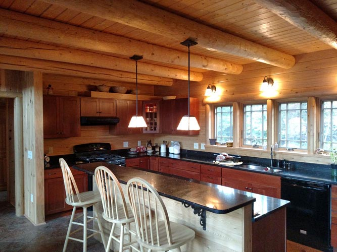 Madison Log Home Kitchen with bar