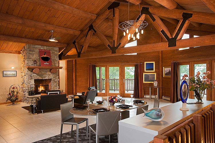 Large log truss in Great Room