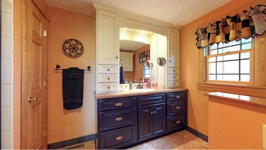 Bathroom vanity with lots of cabinets