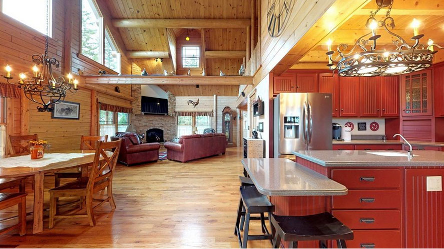 Stunning open area in log home