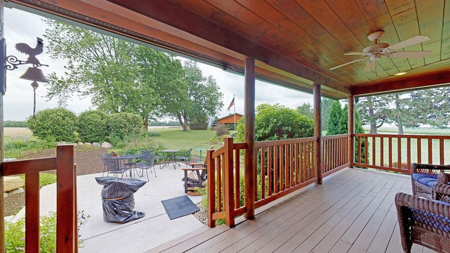 Ward log home porch view of patio