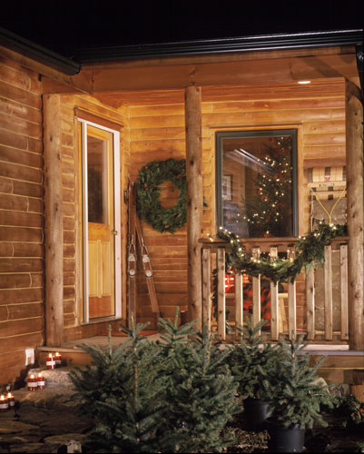 Entry porch decorated for holidays