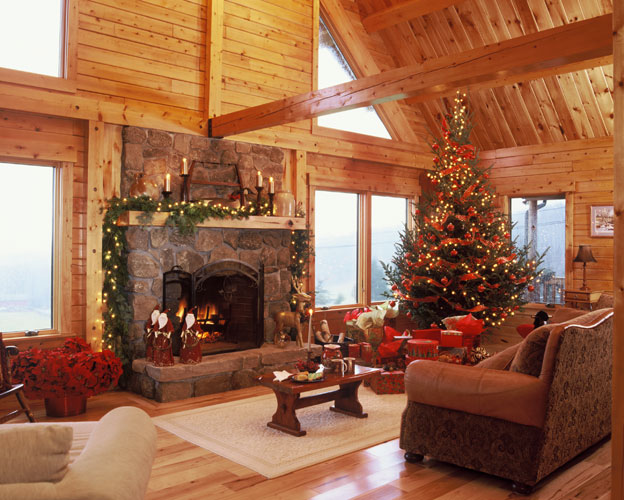 Georgetown log home Great Room decorated