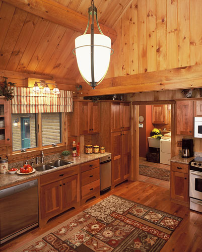 Log home kitchen in Indy