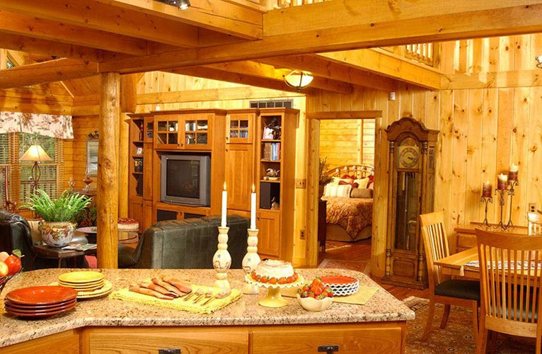 Kitchen of log home with granite counter top