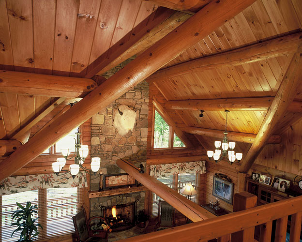 Purlin section of Indy log home