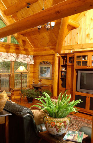 Sitting area of Indy log home