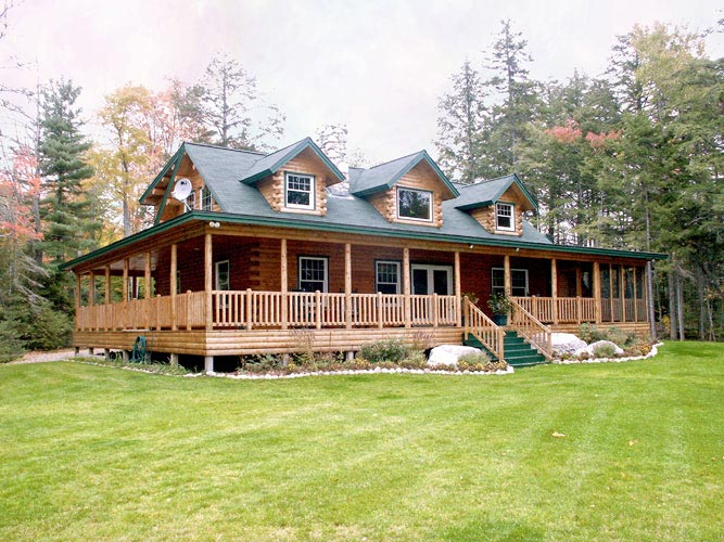 Log Home with three dormers and farmer's porch