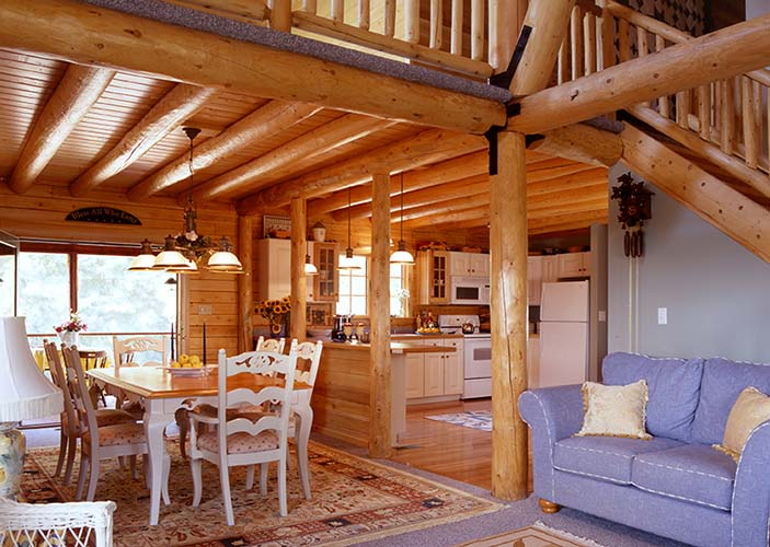 Coopersburg Log Home Dining Room with round beams