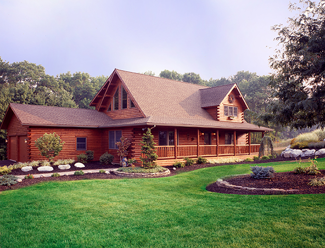 Coopersburg Log Home Exterior with garage