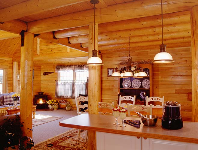 Coopersburg Log Home Kitchen with wood stove