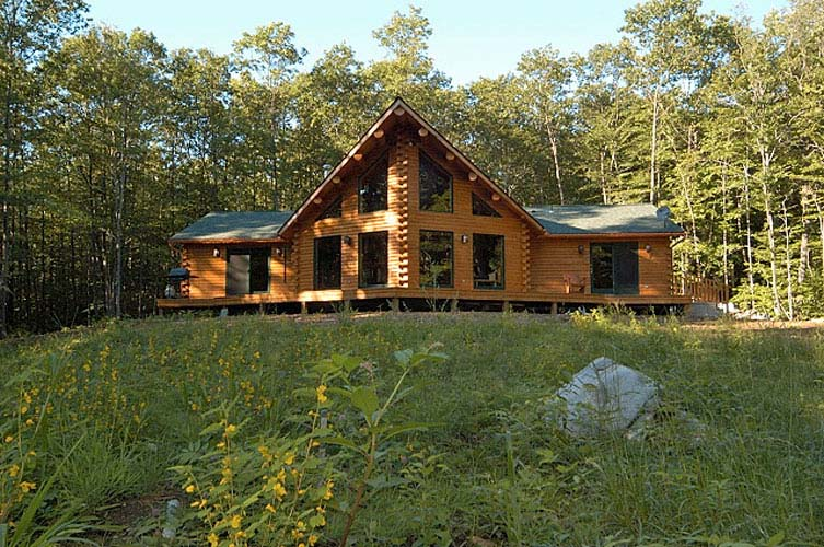 One story log home exterior