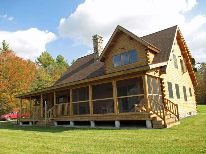Coopersburg Log Home Exterior with screened porch