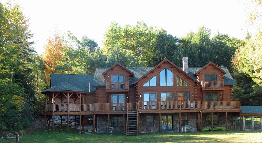 Log home exterior with gazebo