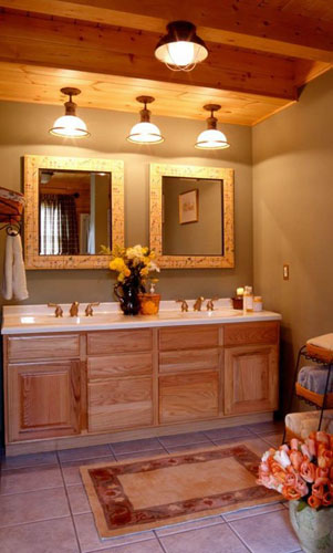 Log Home Hybrid Bath with vanity lights