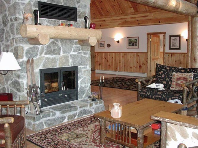 Log Home Hybrid with large fireplace