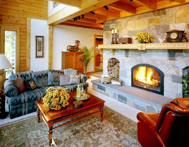 Log Home Hybrid with stone fireplace