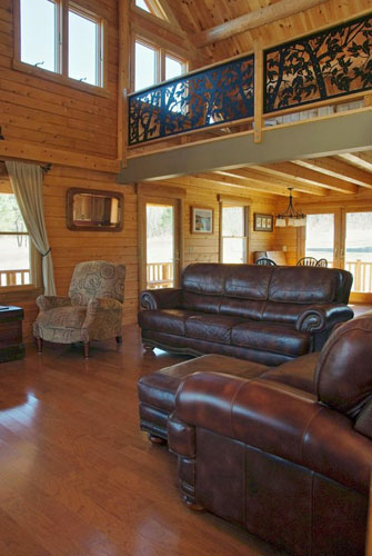 Log Home Hybrid Living Room with leather furniture