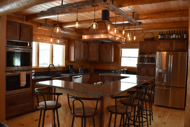 Log Home Kitchen with large bar