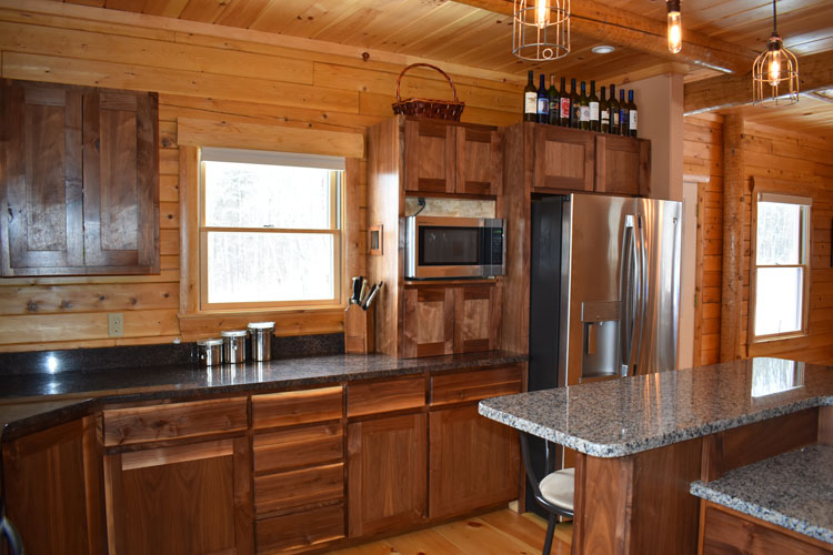 Log Home Kitchen sink area