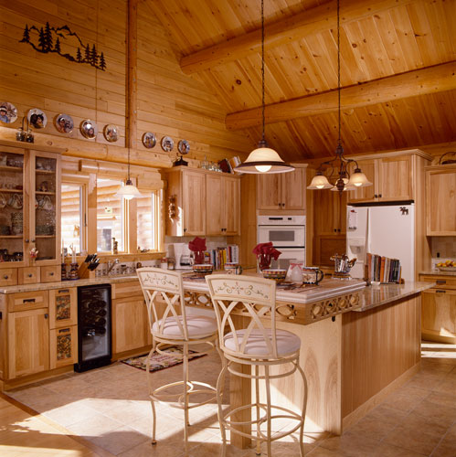Sebego Lake Log Home Kitchen