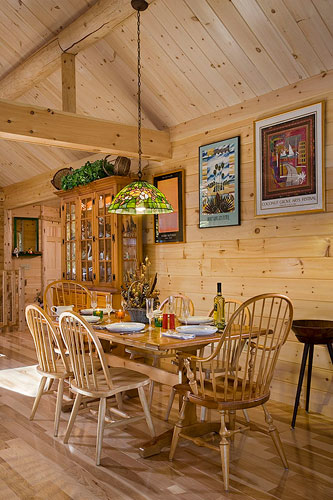 Dining Room with log truss