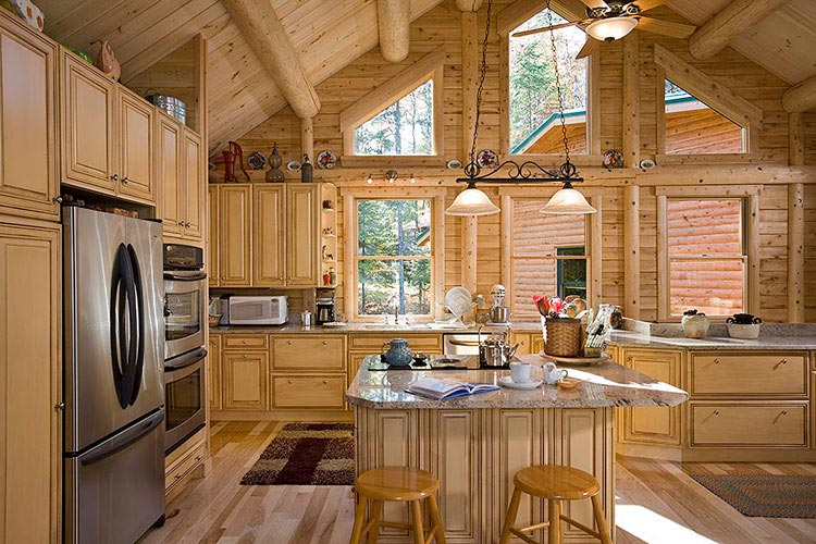 View The Vogel · Log Home Kitchen With Island