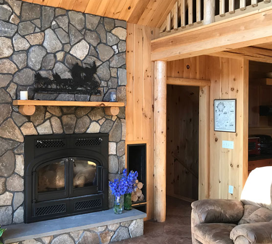 Madison Log Home Fireplace
