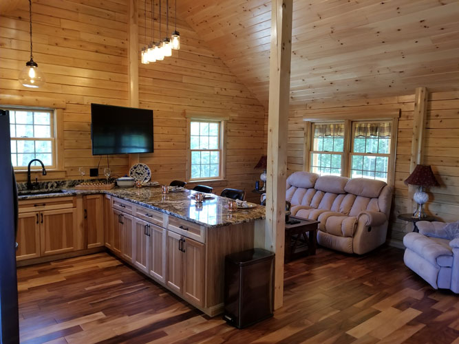 Open interior of Musquash log cabin