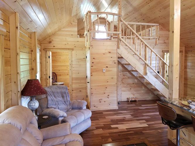 Sitting area of Ward Cedar Log Homes Musquash Log Cabin