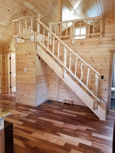 Side view of open log stairs