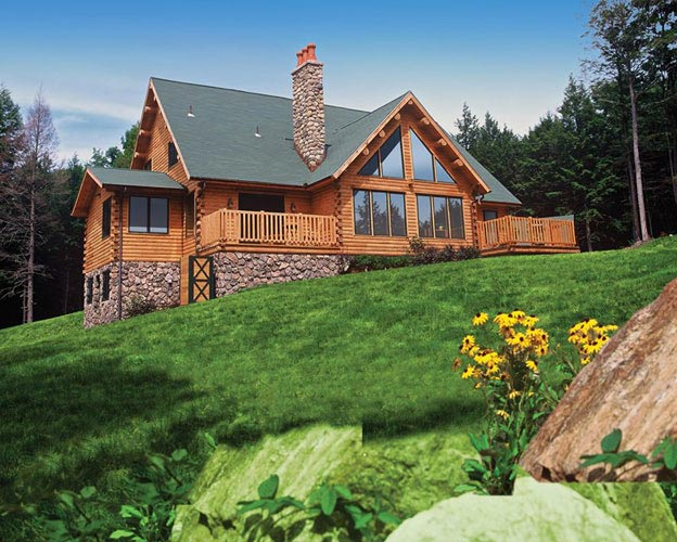 Exterior view of log home with lots of gable glass