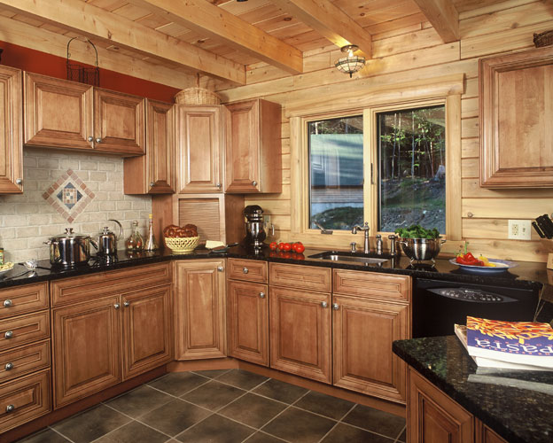 Log Home Kitchen with exposed beams