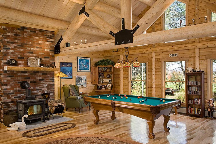 North Star log home with fireplace