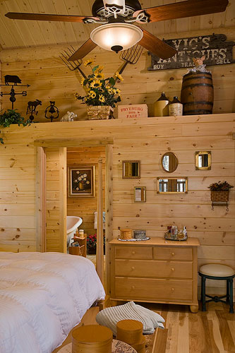 North Star log home bedroom