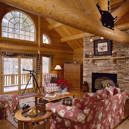 Sebago Lake Log Home Fireplace