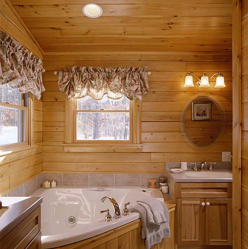 Sebago Lake Log Home Master Bath
