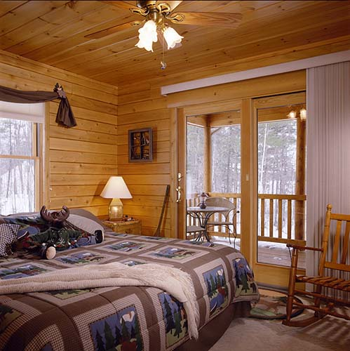 Sebago Lake Log Home Bedroom