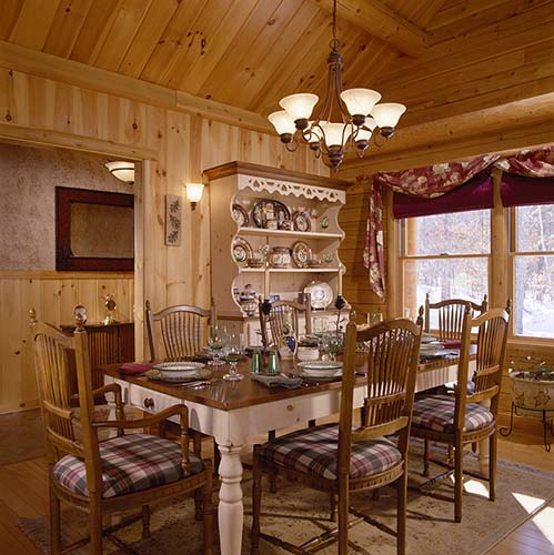 Sebago Lake Log Home Dining Room