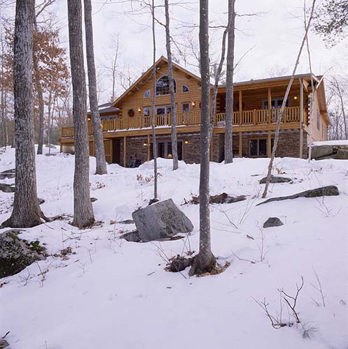 Sebago Lake Log Home Exterior Back