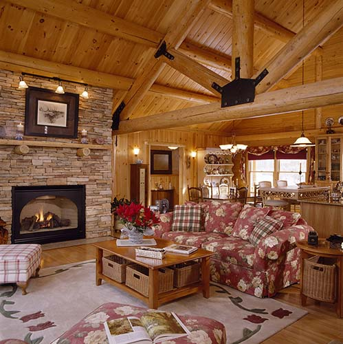 Sebago Lake Log Home Great Room