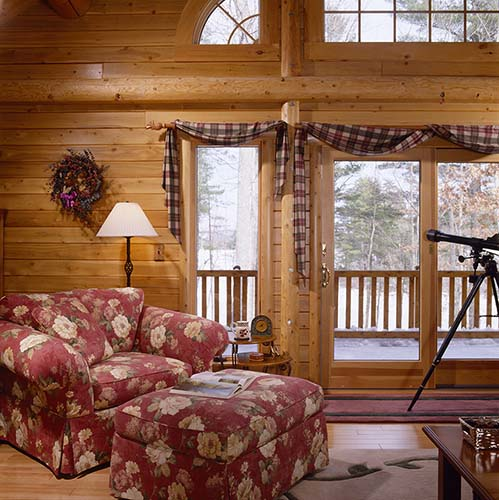 Sebago Lake Log Home Living Area