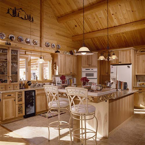 Sebago Lake Log Home Kitchen