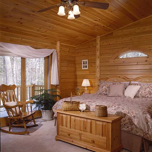 Sebago Lake Log Home Master Bedroom
