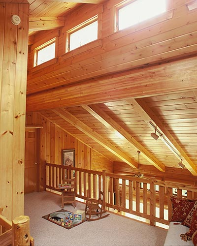 Clerestory loft with cedar railing