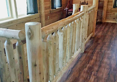 Ward Cedar Log Homes round cedar railing